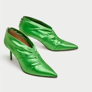 Zara High Heel Green Ankle Boots